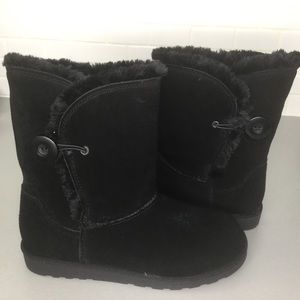 Shoes - Black suede booties upper leather SZ 7